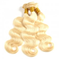 3 Bundle Deals with Closure 4x4 613 Blonde Color Body Wave Virgin Human Hair 9A