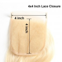 Blonde Human Hair 4 Bundles With Lace Closure 4*4 9A 613 Color Body Wave Hair Weave with Closure