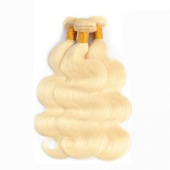 613 Blonde Body Wave Human Hair 2 Bundle with 360 Band Lace Frontal Closure 9A