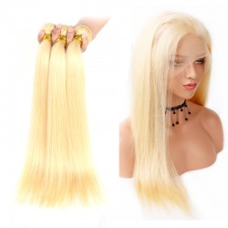 613 Blonde Color 3Pcs Straight Human Hair Bundle with 360 Band Lace Frontal Closure 9A