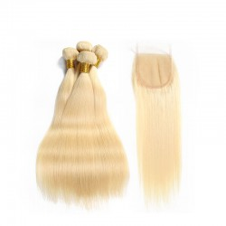 613 Blonde Straight Human Hair 3 Bundles Deal With Blonde Lace Closure 4*4 9A