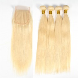 613 Blonde Straight Human Hair 4 Bundles With Blonde Hand-Tied Lace Closure 4*4 Wholesale Prices 9A