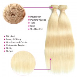 613 Blonde Straight Human Hair 2 Bundle with Lace Closure 4*4 9A