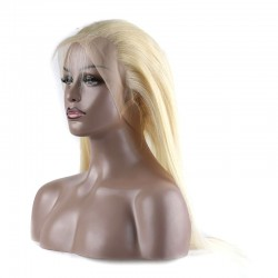 613 Blonde Straight Human Hair 2 Bundle with 360 Band Lace Frontal 9A