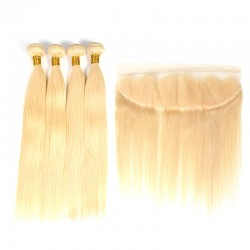 613 Blonde Straight 4 Bundles With Ear to Ear Lace Frontal Closure 13*4 Hair Bundle Deals with Frontal 9A