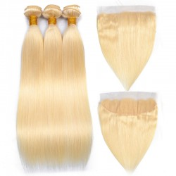 613 Blonde Color Straight Hair Bundle with Lace Frontal Closure 13*4  Ear to ear Frontal with 3 Bundle Deals 9A