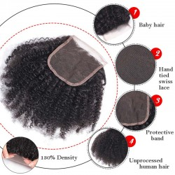 Best Quality Afro Kinky Curly Human Hair Lace Closure Swiss Lace Medium Brown Top Lace Closure 4*4 Hand Made Closure