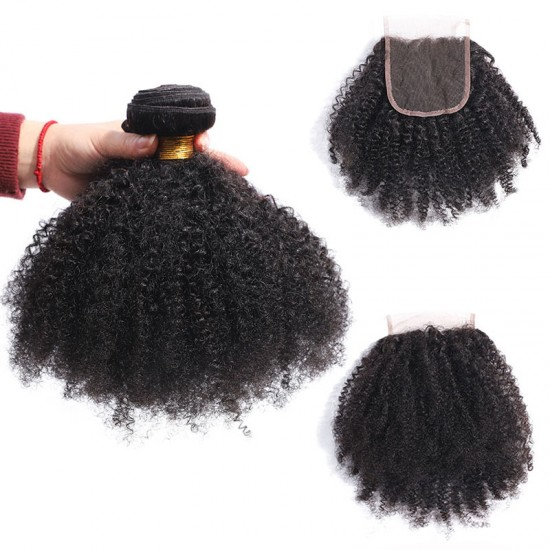 Afro Kinky Curly bundle with Lace Closure 4*4