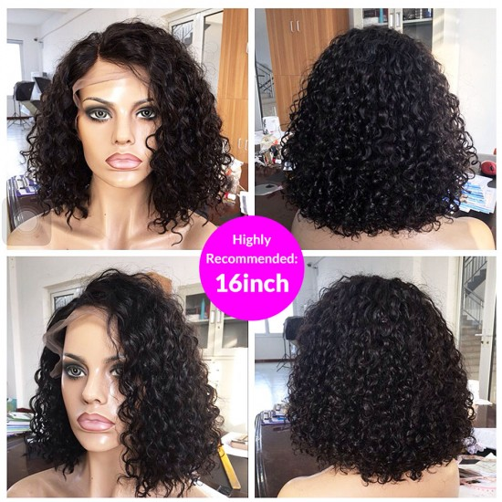 100% Human Hair Curly Blonde Fuller Short Bob Lace Wig  | 13x4 Bouncy Lace Front Human Hair Wigs