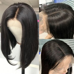 Brazilian Straight Short Bob Wigs For Black Women Bleached Knots Human Hair Lace Front Wig | Sivolla Hair