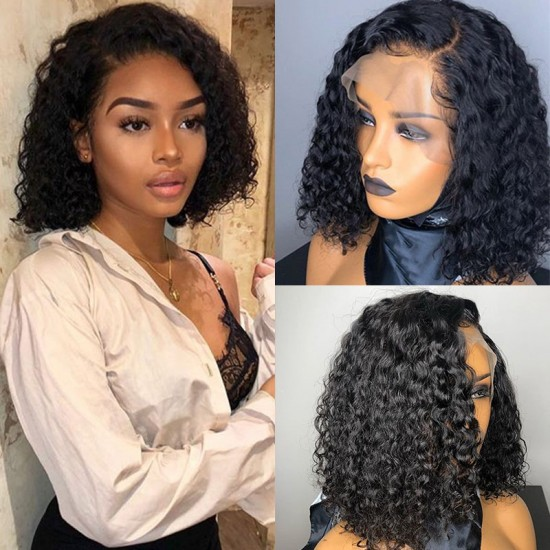 Natural Hairline Baby Hair Deep Curly Short