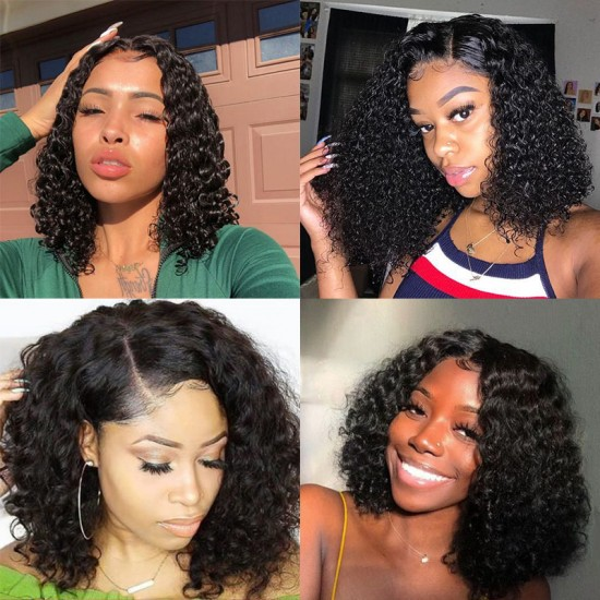 Natural Hairline Baby Hair Deep Curly Short Bob Wigs with Lace Frontal Wig 13x6 | 13x4
