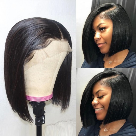 Sivolla 13x6 Short Lace Front Human Hair Wigs | 13x4 Brazilian Straight Bob Wigs Pre Pluck with Baby Hair