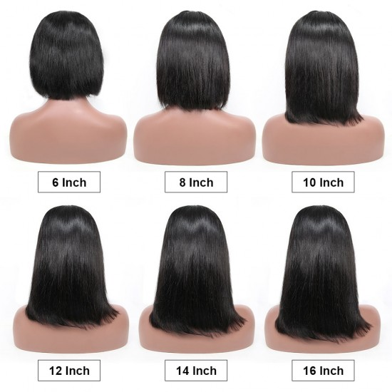 Raw Human Hair 100% Guaranteed Straight Short Bob Hair Wig