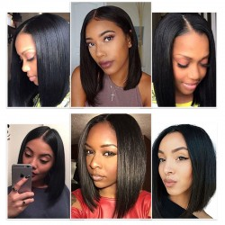 Short Bob Remy Wig Straight Lace Front Human Hair Wigs Natural Color Lace Frontal Wig For Black Women | Sivolla Hair