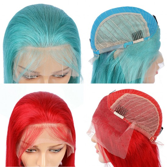 Pre Plucked Pink Green Blonde Blue Red Short Bob Lace Wig