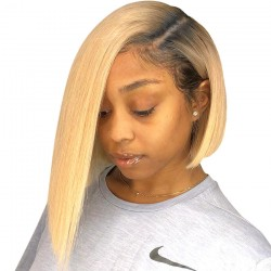 Black Root Blonde 613 Ombre 13x6 | 13x4 Lace Front Human Hair Wigs Short Straight Bob Hair Wigs | Sivolla Hair