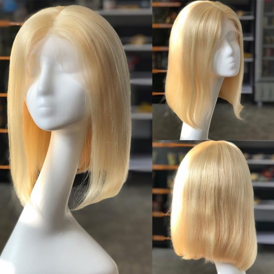 Black Root Blonde 613 Ombre 13x6 and 13x4 Lace Front Human Hair Wigs Short Straight Bob Hair Wigs