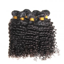 3PCS Human Hair with 4X4 Lace Closure Combination Deep Curly 100% Raw Virgin Human Hair Weft