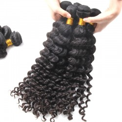 2 Bundle Deal Brazilian Deep Wave Human Hair 200g Natural Brownish Luster Durable Quality Hair Weaving