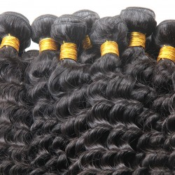 3 bundle 100% Brazilian machine double hair NATURAL Human Hair Deep Wave Curls Organic Healthy Strands one Donor Raw Hairs