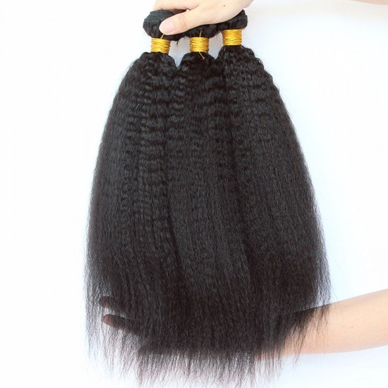 Kinky Straight Brazilian Human Hair In Stock With Superior Quality Hair Material 9A 3Bundle Deals Wholesale Hair