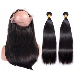 2Pieces Bundle with 360 Closure Thick Bundles Grade 9A Salon RAW hair Supplier Wholesale Hair Bundle with Frontal Virgin Brazilian Straight Human Hair