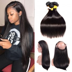 3 Bundles with 360 Band Frontal Closure Thick Unprocessed Virgin Brazilian Straight Hair Pre Plucked 360 Band Lace Frontal Lustrous Raw Hair Weave