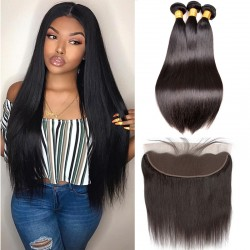 3Pcs Hair Weft with Frontal Brazilian Straight Hair Weave Natural Hair Bundles with Frontal 13*4 Machine Wefts No Corn Chip Smell