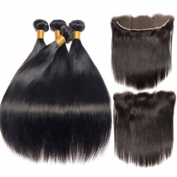 4Pcs Bundle with Frontal 13x4 Lace Closure Original 100% Brazilian Human Hair 9A Raw Virgin Cuticle Aligned Straight Hair Weave Best Hair Vendor!
