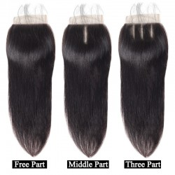4Pcs Bundles with Closure 4X4 Brazilian Virgin Human Hair Unprocessed Straight Hair Machine Wefted Double Wefts 4 Bundles Deal with top closure