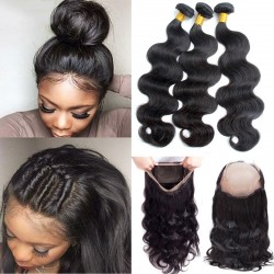"""3 Bundles with 360 Frontal Closure Pre-Plucked SivollaHair Raw Hair No Acid Bath Brazilian Body Wave 8""""-30"""" 360 Band Lace Frontal Wig"""