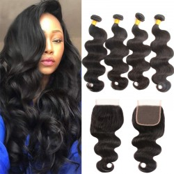 4Pcs Bundle Deals with Closure 4*4 Brazilian 9A Wholesale Price Unprocessed Natural Original Raw Mink Human Hair Weft+Closure Full head
