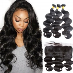 3 Bundles with Frontal 13*4 Best hair Buy 9A raw Virgin Brazilian Body Wave Human Hair Natural Bouncy Flawless Bundle Deals