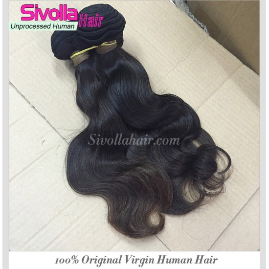 "1 Bundle Raw SivollaHair Burmese Unprocessed Virgin Human Hair 8""-30"" Body Wave wefts Cuticles Aligned Natural Color Premium Quality Aliqueen Hair"