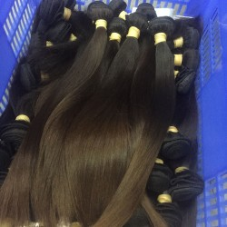 2Pcs Burmese Natural Raw Human Hair Silky Straight Hair Weft Natural Color end Brown Hot Selling 200gram fast shipping