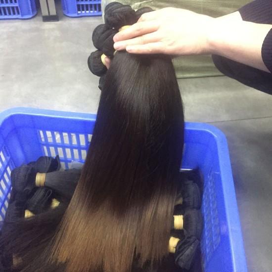 2Pcs Burmese Natural Raw Human Hair Silky Straight Hair Weft Natural Color end Brown Hot Selling 200gram fast shipping