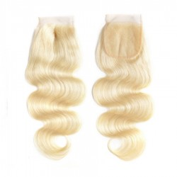 Colored Lace Closure 4*4 Body Wave Natural Human Hair with Baby Hair Blonde Color Lace Closure
