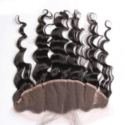 Loose Wave Natural Color Brazilian Mongolian Cambodian etc Hair Origin Lace Frontal Closure 13x4