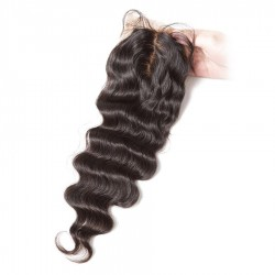 10A Grade of Naural Original Human Hair Natural Wave Silk Base Closure Wavy Closure Length 8inch to 24inch In Stock