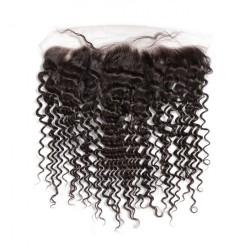 Swiss Lace Hand Tied Ear to Ear 13*4 Deep Wave Lace Frontal Closure with Natural Original Unprocessed Virgin Human Hair Raw HAIR Closure