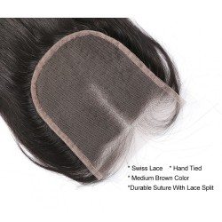 Grade 9A Human Hair Closure Natural Straight 4*4 Swiss Lace Medium Brown Top Lace Closure Hand Made Closure