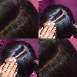 9a Grade Human Hair Sivolla Silky Base Lace Closure Straight Middle Part Three Part Natural Straight Closure
