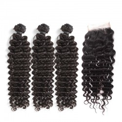 3 Pcs A Lot Bundle Deals with Lace Closure Deep Wave Virgin Human Hair Top Lace Closure 4*4 Brazilian Indian Malaysian Peruvian Cambodian 8A