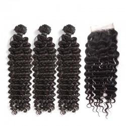 3 Pcs A Lot Bundle Deals with Lace Closure Deep Wave Virgin Human Hair Top Lace Closure 4x4 Brazilian Indian Malaysian Peruvian Cambodian 8A