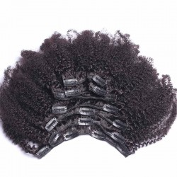 Boom Curls Afro Kinky Curly Mongolian Virgin Hair Clip In Human Hair Extensions Natural Color