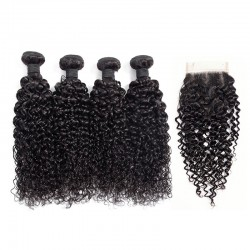 4 bundle Deals with Lace Closure 4*4 Jerry Curly Human Hair Curls Natural Black Color 8A Indian Brazilian Peruvian Burmese Hair with Top Lace Closure