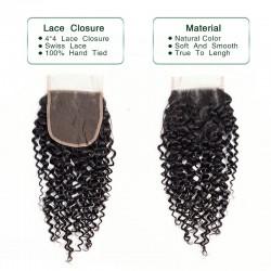 3 Bundles Deal with Closure Natural Black Jerry Curly Virgin Human Hair Lace Closure 4*4 Brazilian Indian Malaysian Peruvian Cambodian