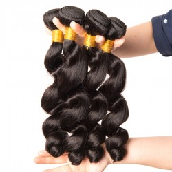3 Bundle Deals Loose Wave Raw Unprocessed Natural Virgin Human Hair Weft Natural Color 8A