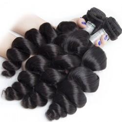 2 Bundle Deals Loose Wave Virgin Human Hair Weave 8A Natural Black Raw Hair